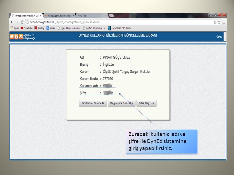 Buradaki kullanıcı adı ve şifre ile DynEd sistemine giriş yapabilirsiniz.
