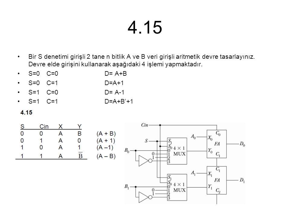 4.15 Bir S denetimi girişli 2 tane n bitlik A ve B veri girişli aritmetik devre tasarlayınız. Devre elde girişini kullanarak aşağıdaki 4 işlemi yapmak