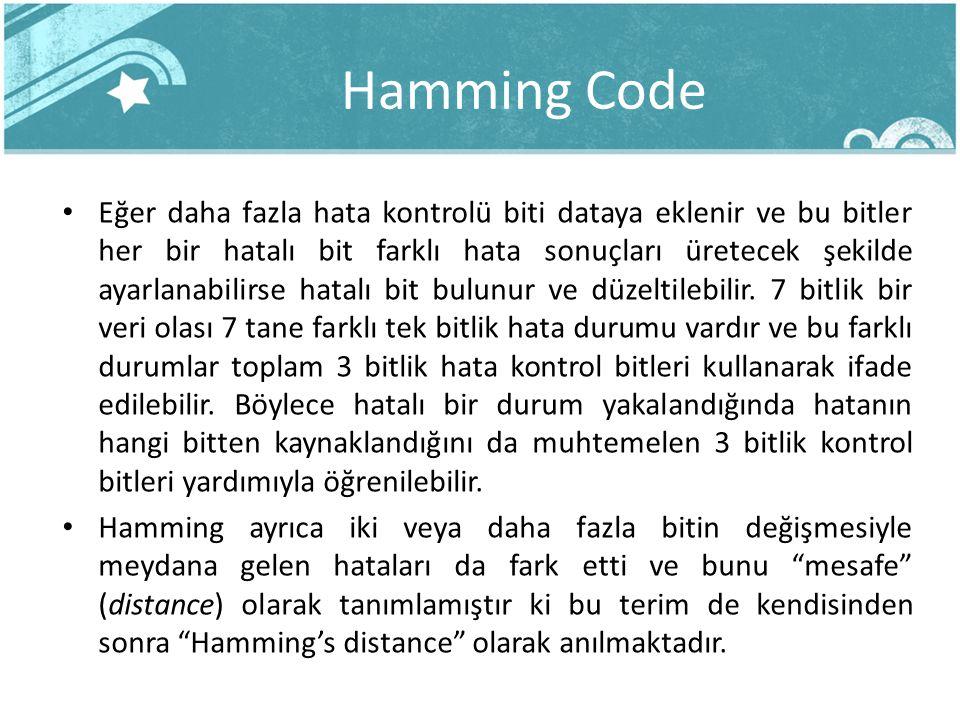 Hamming Code Eğer daha fazla hata kontrolü biti dataya eklenir ve bu bitler her bir hatalı bit farklı hata sonuçları üretecek şekilde ayarlanabilirse hatalı bit bulunur ve düzeltilebilir.