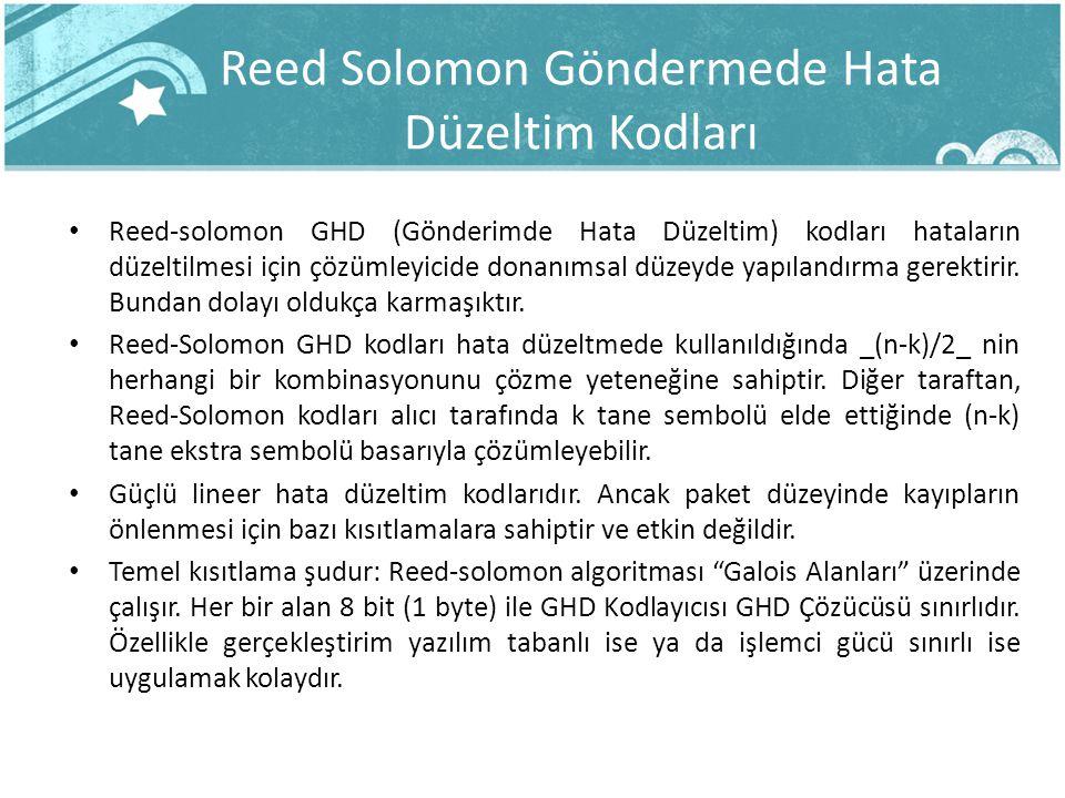 Reed Solomon Göndermede Hata Düzeltim Kodları Reed-solomon GHD (Gönderimde Hata Düzeltim) kodları hataların düzeltilmesi için çözümleyicide donanımsal