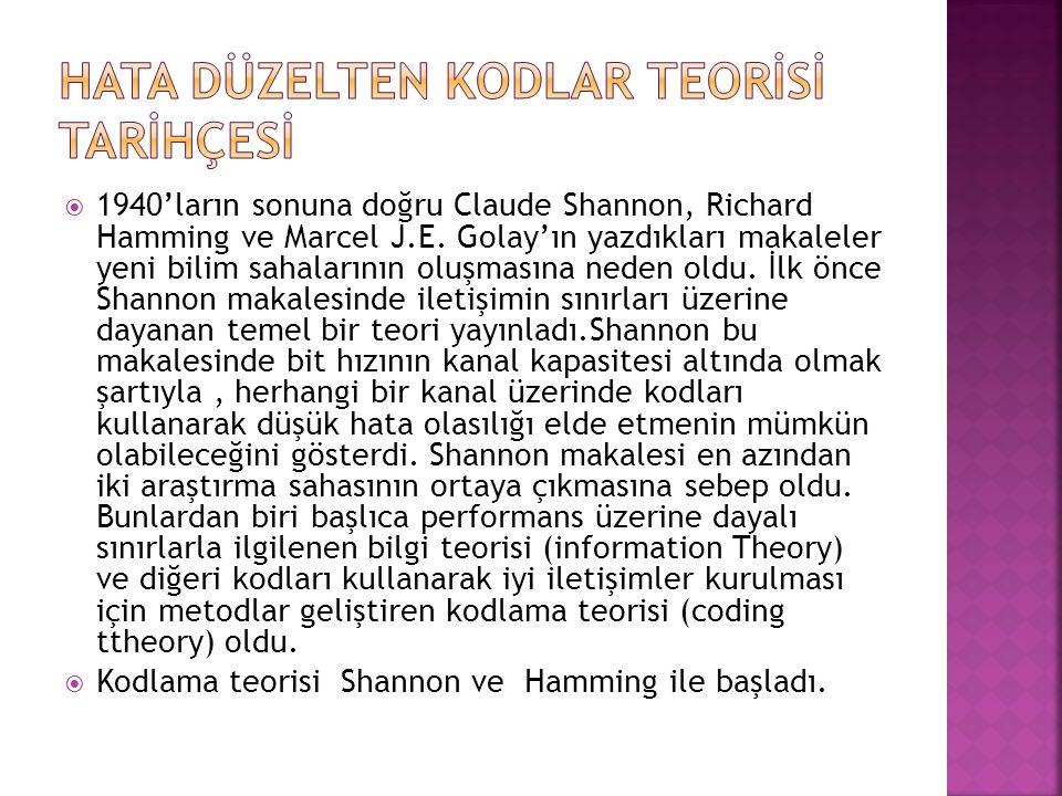  1940'ların sonuna doğru Claude Shannon, Richard Hamming ve Marcel J.E. Golay'ın yazdıkları makaleler yeni bilim sahalarının oluşmasına neden oldu. İ