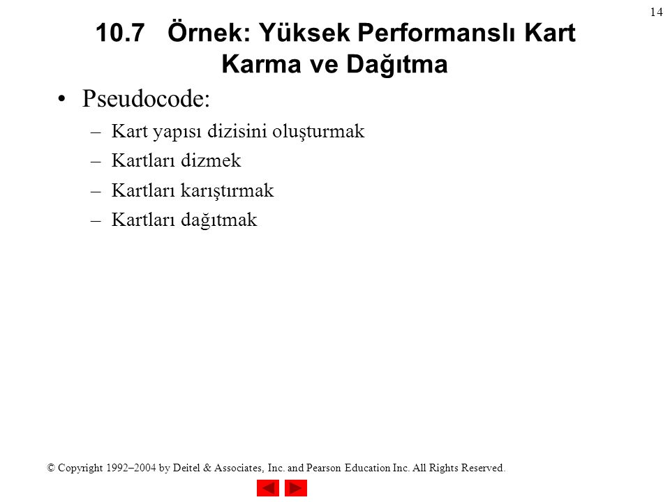 © Copyright 1992–2004 by Deitel & Associates, Inc. and Pearson Education Inc. All Rights Reserved. 14 10.7 Örnek: Yüksek Performanslı Kart Karma ve Da