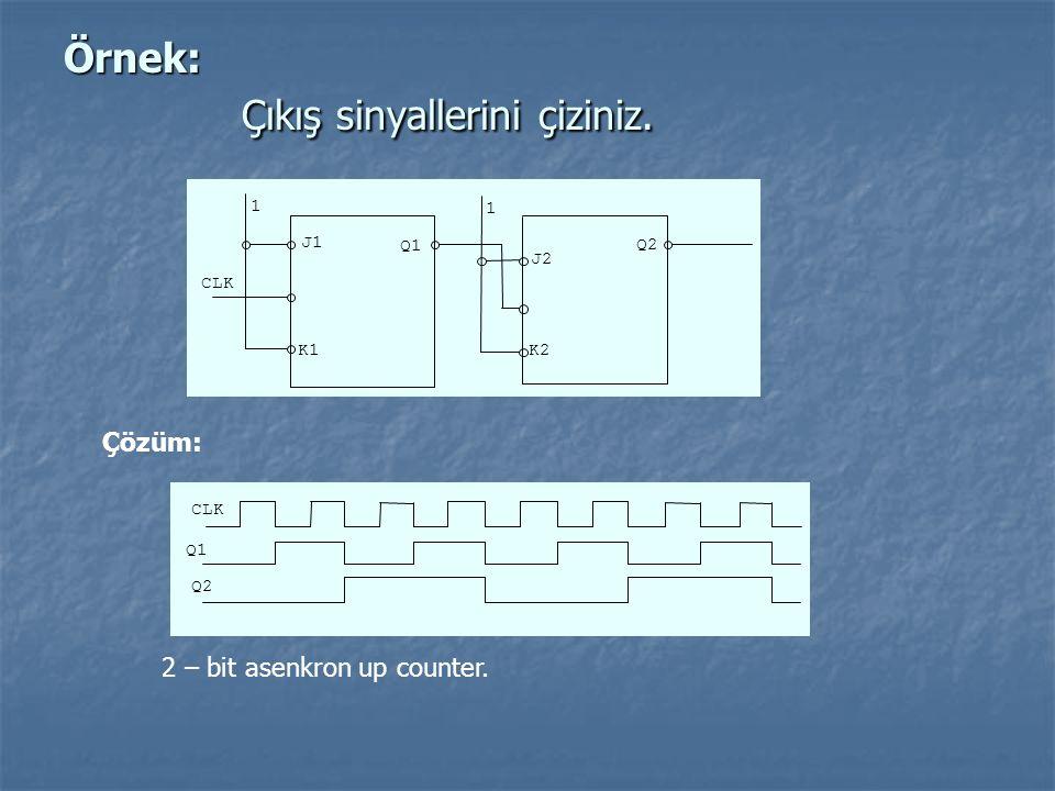 Örnek: Çıkış sinyallerini çiziniz. K2 J2 K1 J1 Q2 Q1 1 CLK 1 Çözüm: Q2 Q1 CLK 2 – bit asenkron up counter.