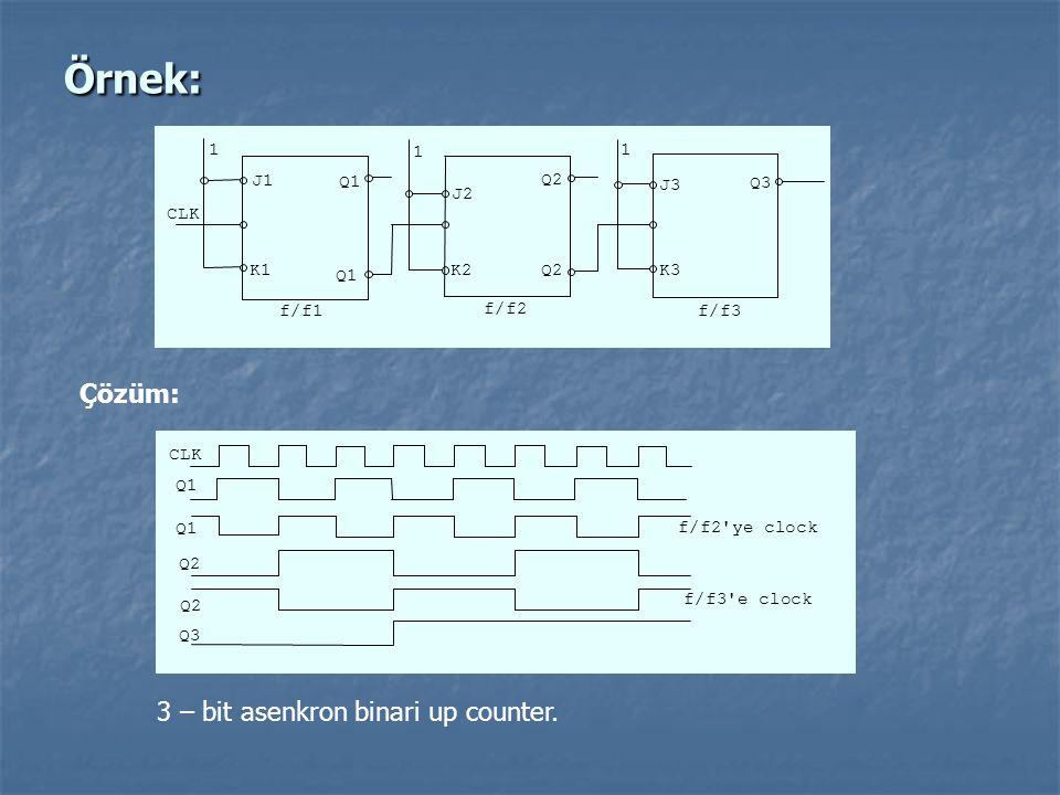 Örnek: CLK Q2 Q3 f/f1 1 K3 J3 K2 J2 K1 J1 1 1 Q1 Q2 f/f3 f/f2 Çözüm: CLK Q2 Q3 f/f2'ye clock f/f3'e clock Q1 Q2 3 – bit asenkron binari up counter.