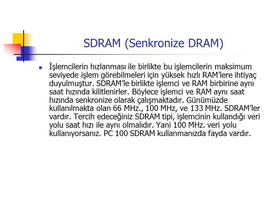 SDRAM (Senkronize DRAM) İşlemcilerin hızlanması ile birlikte bu işlemcilerin maksimum seviyede işlem görebilmeleri için yüksek hızlı RAM'lere ihtiyaç duyulmuştur.