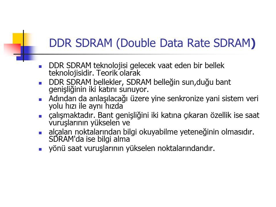 DDR SDRAM (Double Data Rate SDRAM) DDR SDRAM teknolojisi gelecek vaat eden bir bellek teknolojisidir.