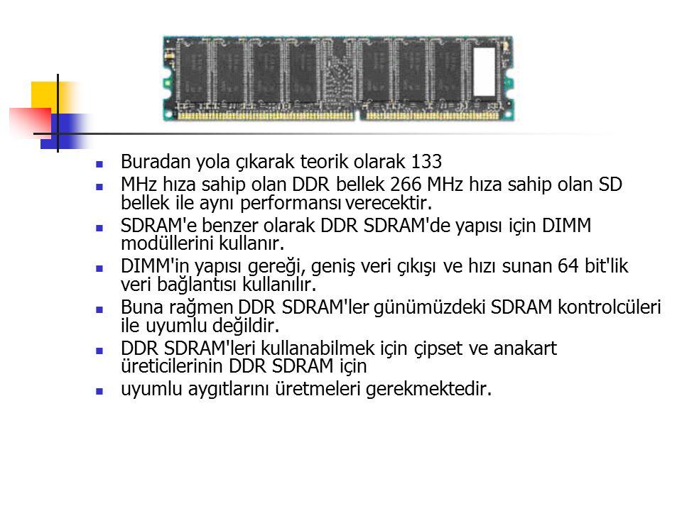 Buradan yola çıkarak teorik olarak 133 MHz hıza sahip olan DDR bellek 266 MHz hıza sahip olan SD bellek ile aynı performansı verecektir.