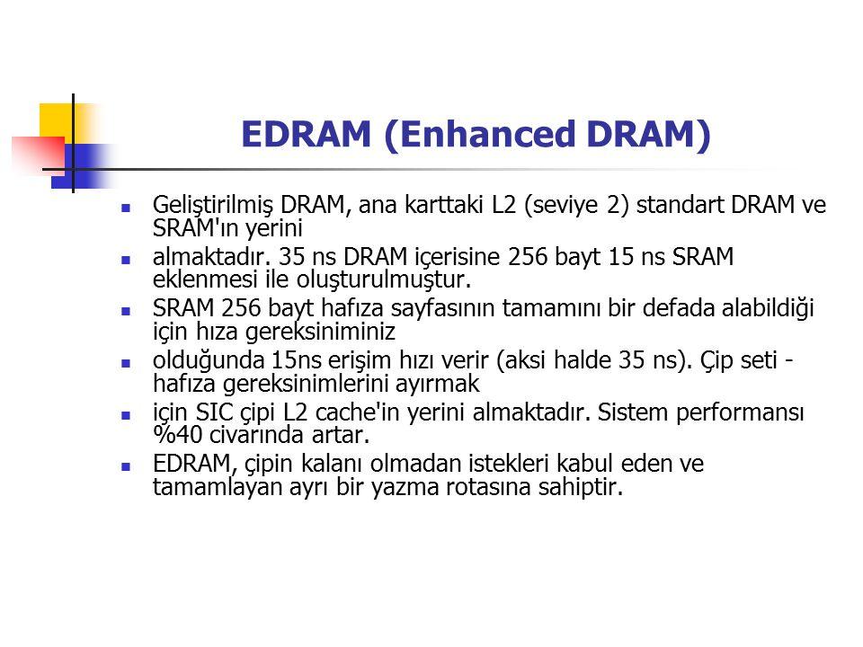 EDRAM (Enhanced DRAM) Geliştirilmiş DRAM, ana karttaki L2 (seviye 2) standart DRAM ve SRAM ın yerini almaktadır.