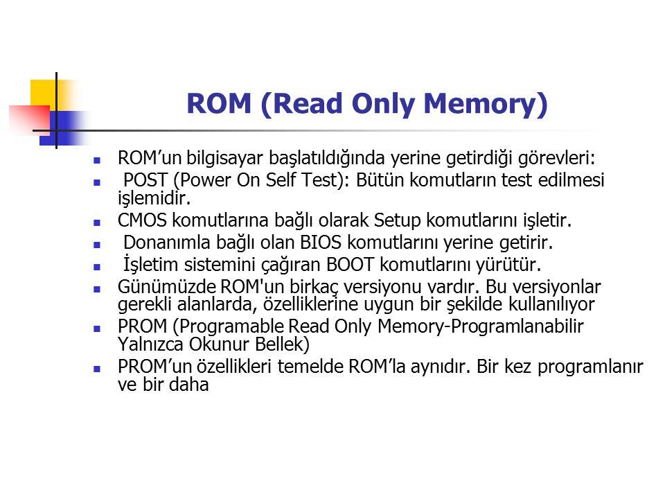 ROM (Read Only Memory) ROM'un bilgisayar başlatıldığında yerine getirdiği görevleri: POST (Power On Self Test): Bütün komutların test edilmesi işlemidir.