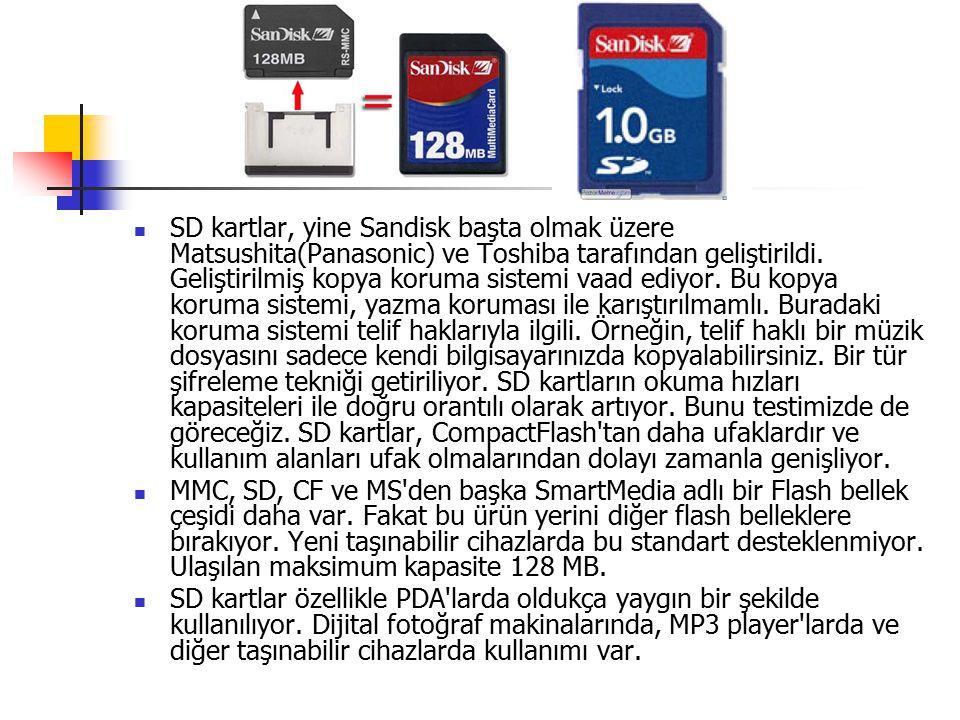SD kartlar, yine Sandisk başta olmak üzere Matsushita(Panasonic) ve Toshiba tarafından geliştirildi.