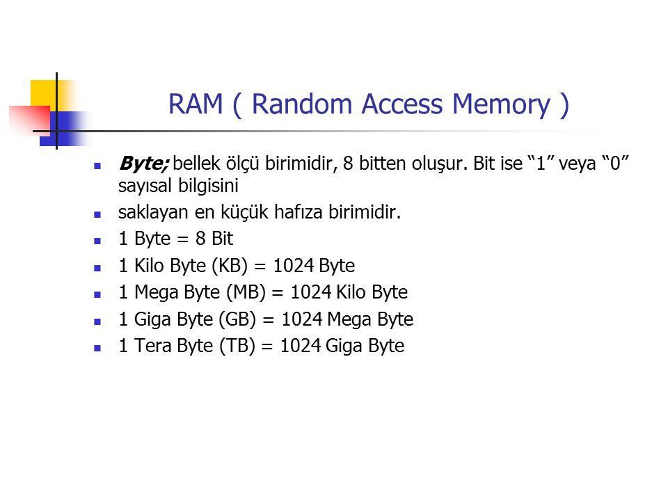 RAM ( Random Access Memory ) Byte; bellek ölçü birimidir, 8 bitten oluşur.