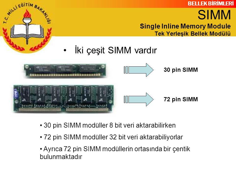 BELLEK BİRİMLERİ İki çeşit SIMM vardır 30 pin SIMM72 pin SIMM 30 pin SIMM modüller 8 bit veri aktarabilirken 72 pin SIMM modüller 32 bit veri aktarabi
