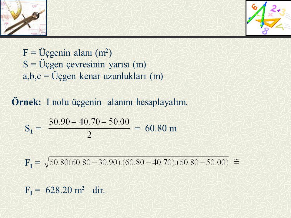 F = Üçgenin alanı (m 2 ) S = Üçgen çevresinin yarısı (m) a,b,c = Üçgen kenar uzunlukları (m) Örnek: I nolu üçgenin alanını hesaplayalım. = 60.80 mS 1