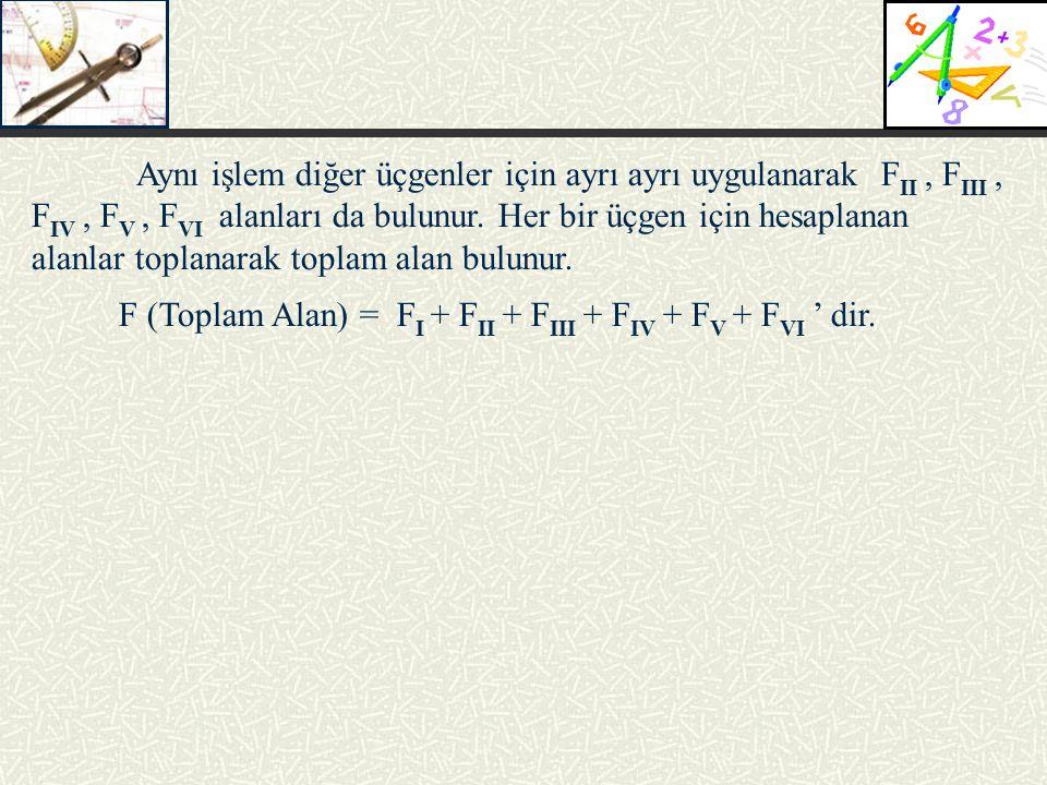 Aynı işlem diğer üçgenler için ayrı ayrı uygulanarak F II, F III, F IV, F V, F VI alanları da bulunur. Her bir üçgen için hesaplanan alanlar toplanara