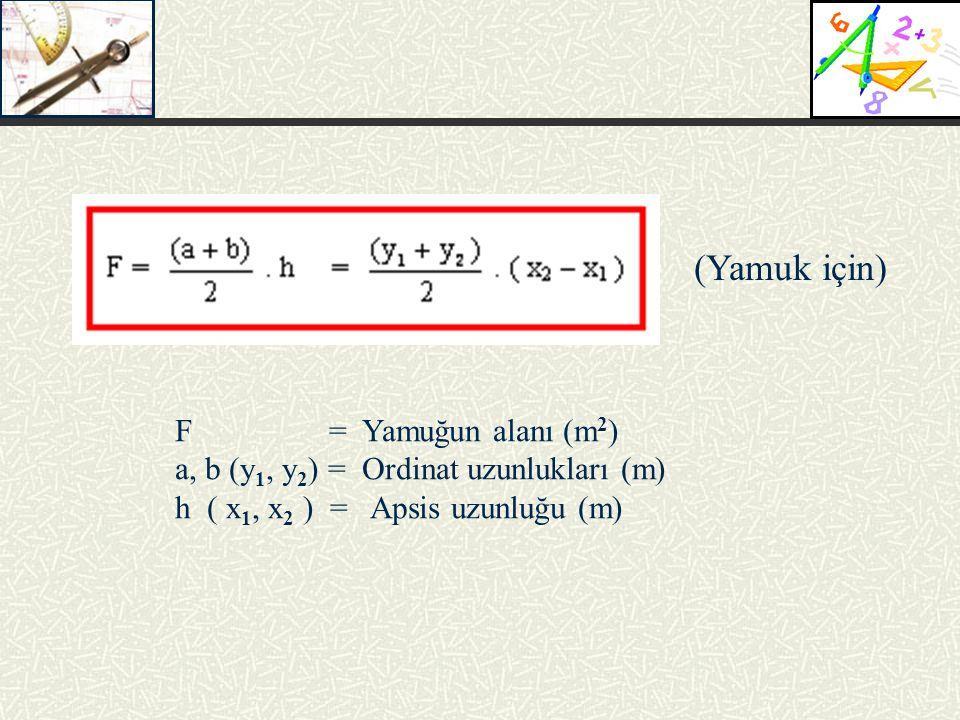 (Yamuk için) F = Yamuğun alanı (m 2 ) a, b (y 1, y 2 ) = Ordinat uzunlukları (m) h ( x 1, x 2 ) = Apsis uzunluğu (m)