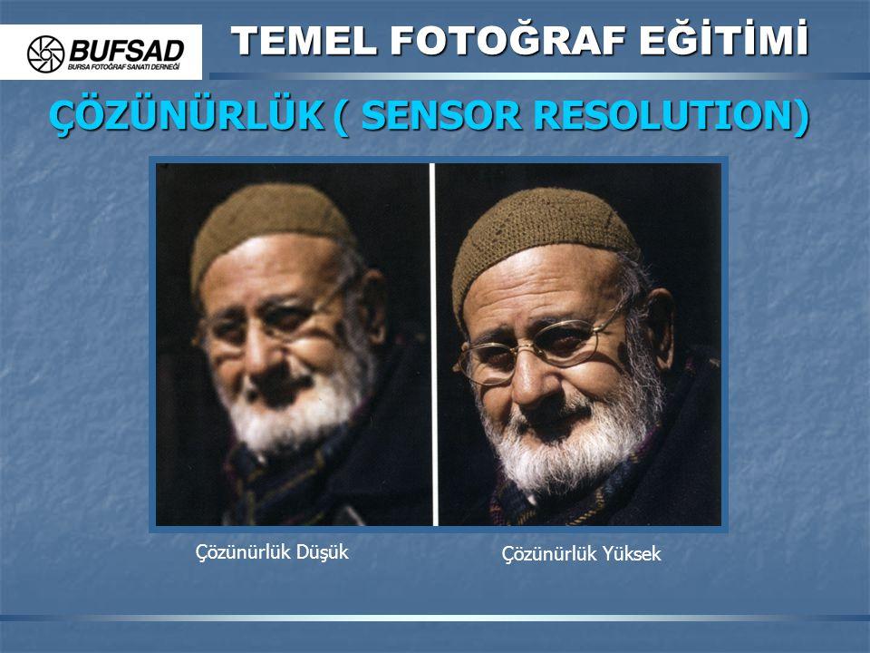 TEMEL FOTOĞRAF EĞİTİMİ ÇÖZÜNÜRLÜK ( SENSOR RESOLUTION) Çözünürlük Düşük Çözünürlük Yüksek