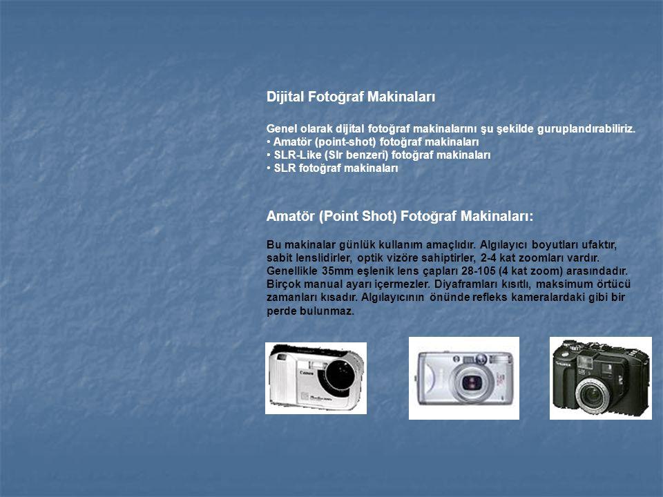 Dijital Fotoğraf Makinaları Genel olarak dijital fotoğraf makinalarını şu şekilde guruplandırabiliriz. Amatör (point-shot) fotoğraf makinaları SLR-Lik