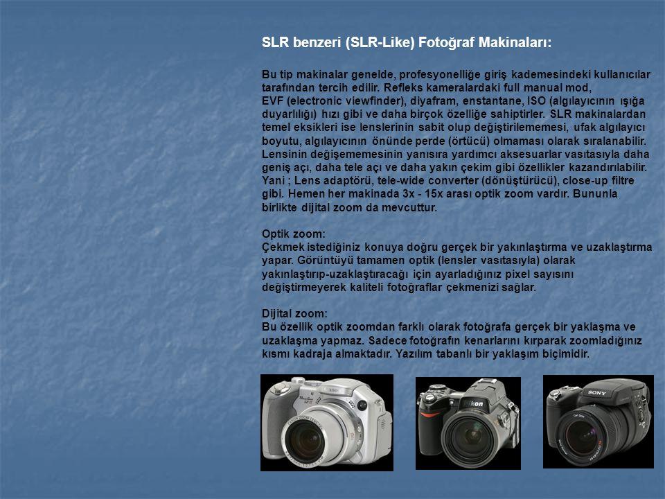 SLR benzeri (SLR-Like) Fotoğraf Makinaları: Bu tip makinalar genelde, profesyonelliğe giriş kademesindeki kullanıcılar tarafından tercih edilir. Refle