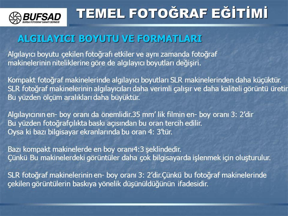 TEMEL FOTOĞRAF EĞİTİMİ ALGILAYICI BOYUTU VE FORMATLARI Algılayıcı boyutu çekilen fotoğrafı etkiler ve aynı zamanda fotoğraf makinelerinin niteliklerin