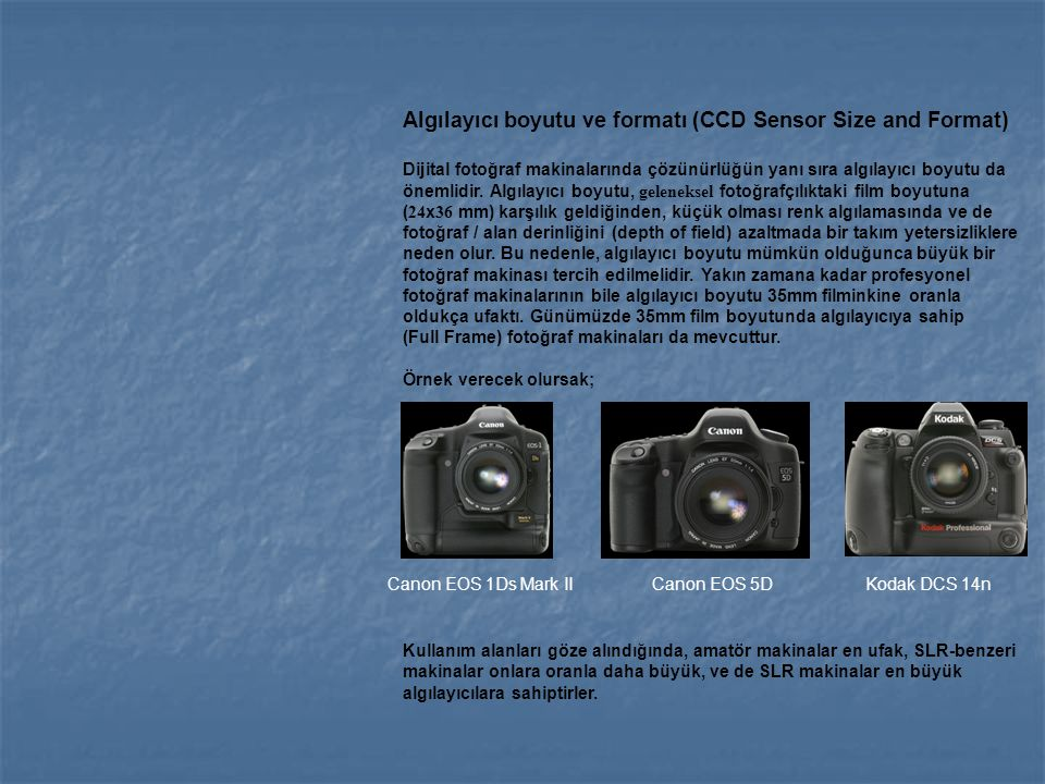 Algılayıcı boyutu ve formatı (CCD Sensor Size and Format) Dijital fotoğraf makinalarında çözünürlüğün yanı sıra algılayıcı boyutu da önemlidir. Algıla