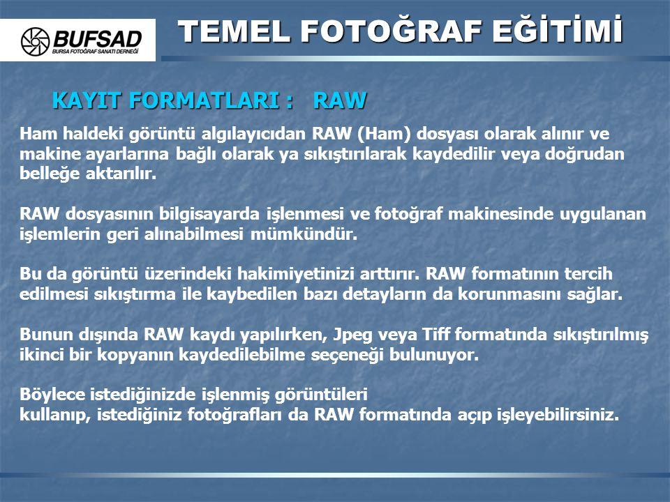 KAYIT FORMATLARI : RAW Ham haldeki görüntü algılayıcıdan RAW (Ham) dosyası olarak alınır ve makine ayarlarına bağlı olarak ya sıkıştırılarak kaydedili