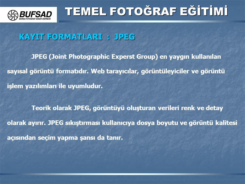 TEMEL FOTOĞRAF EĞİTİMİ KAYIT FORMATLARI : JPEG JPEG (Joint Photographic Experst Group) en yaygın kullanılan sayısal görüntü formatıdır. Web tarayıcıla