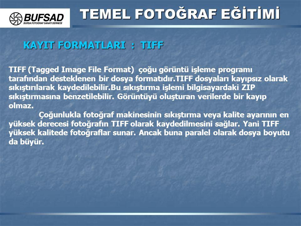 TEMEL FOTOĞRAF EĞİTİMİ KAYIT FORMATLARI : TIFF TIFF (Tagged Image File Format) çoğu görüntü işleme programı tarafından desteklenen bir dosya formatıdı