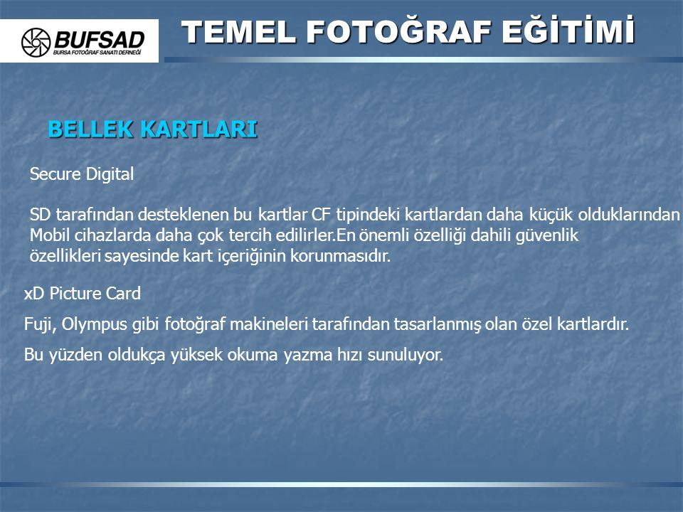 TEMEL FOTOĞRAF EĞİTİMİ BELLEK KARTLARI Secure Digital SD tarafından desteklenen bu kartlar CF tipindeki kartlardan daha küçük olduklarından Mobil ciha