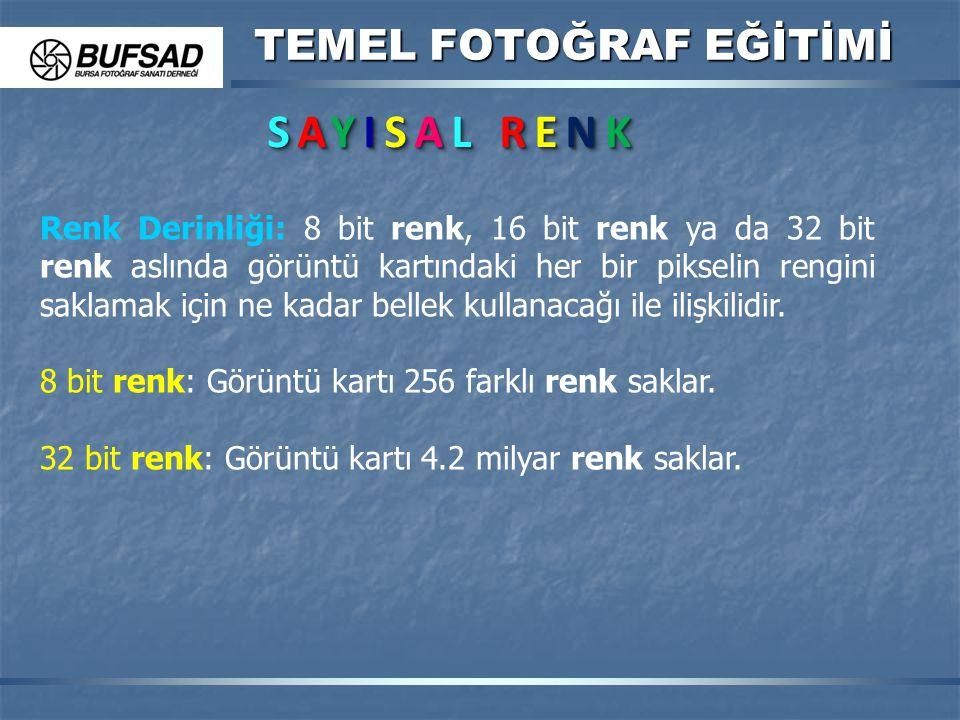 TEMEL FOTOĞRAF EĞİTİMİ SAYISAL RENKSAYISAL RENKSAYISAL RENKSAYISAL RENK SAYISAL RENKSAYISAL RENKSAYISAL RENKSAYISAL RENK Renk Derinliği: 8 bit renk, 1