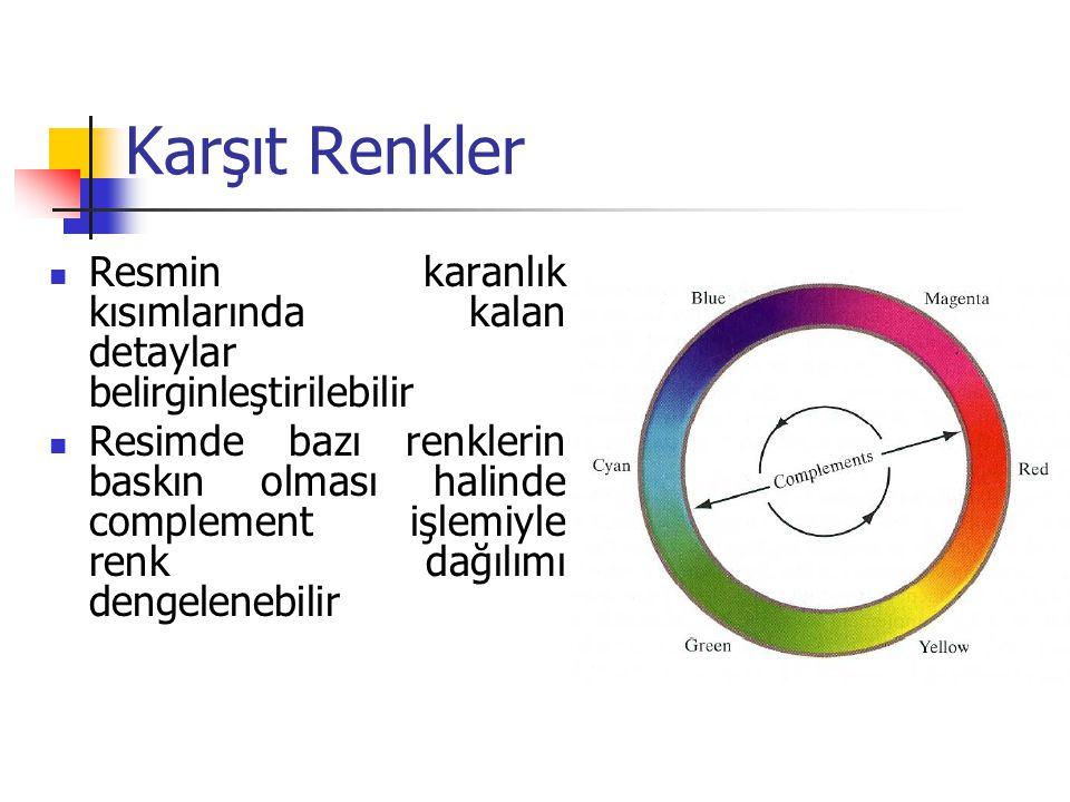 Karşıt Renkler Resmin karanlık kısımlarında kalan detaylar belirginleştirilebilir Resimde bazı renklerin baskın olması halinde complement işlemiyle renk dağılımı dengelenebilir