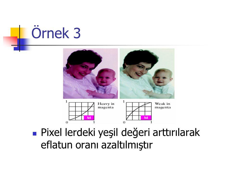 Örnek 3 Pixel lerdeki yeşil değeri arttırılarak eflatun oranı azaltılmıştır