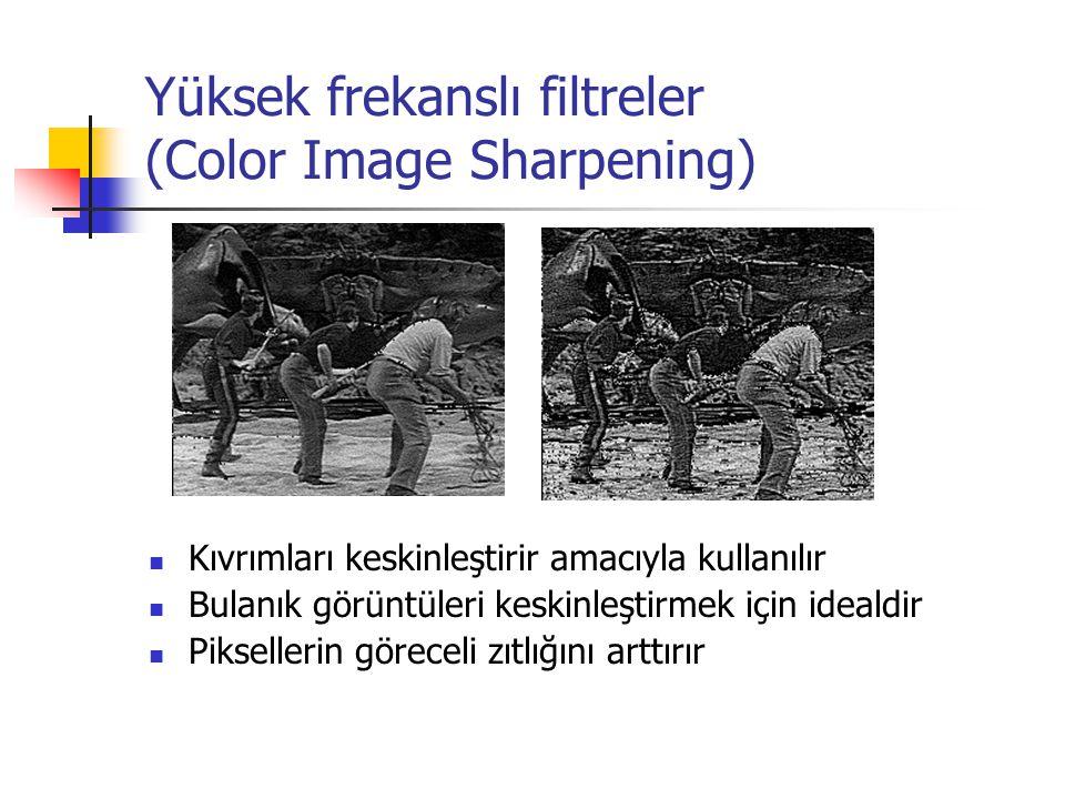 Yüksek frekanslı filtreler (Color Image Sharpening) Kıvrımları keskinleştirir amacıyla kullanılır Bulanık görüntüleri keskinleştirmek için idealdir Piksellerin göreceli zıtlığını arttırır