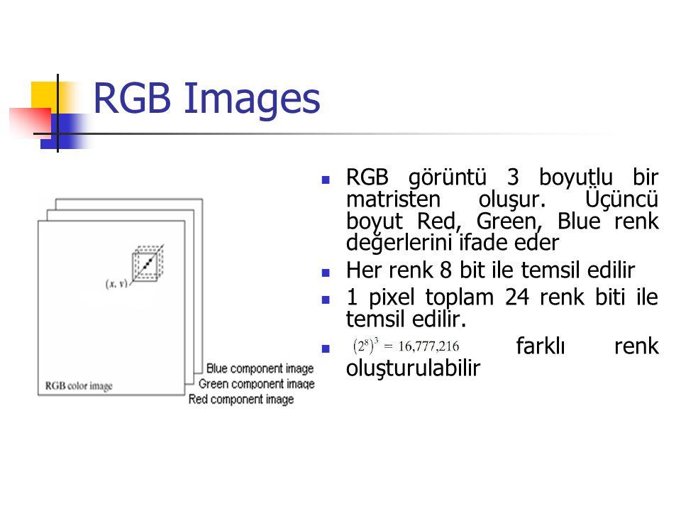 Renkli Görüntü Renkli görüntüler üç ayrı görüntü matrisinin üstüste çakıştırılması olarak düşünülebilir.