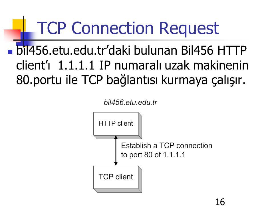 16 TCP Connection Request bil456.etu.edu.tr'daki bulunan Bil456 HTTP client'ı 1.1.1.1 IP numaralı uzak makinenin 80.portu ile TCP bağlantısı kurmaya ç
