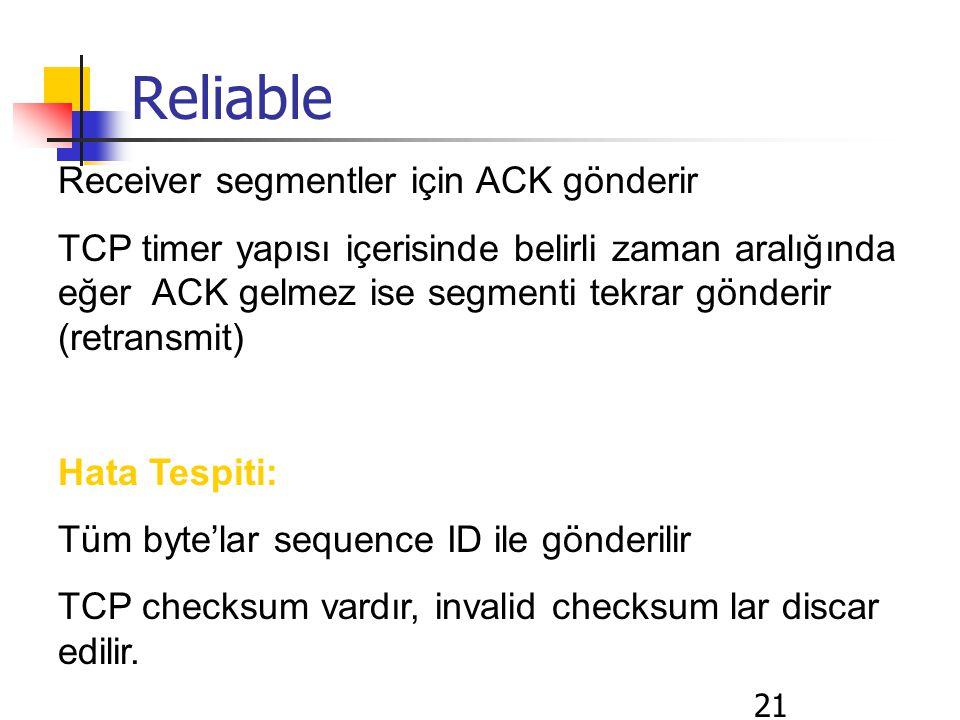 21 Reliable Receiver segmentler için ACK gönderir TCP timer yapısı içerisinde belirli zaman aralığında eğer ACK gelmez ise segmenti tekrar gönderir (retransmit) Hata Tespiti: Tüm byte'lar sequence ID ile gönderilir TCP checksum vardır, invalid checksum lar discar edilir.