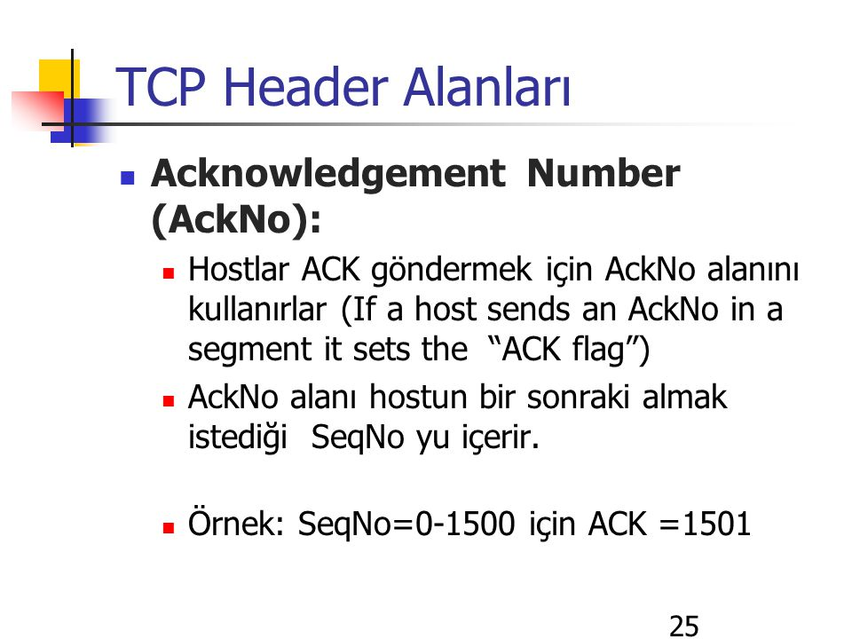 25 TCP Header Alanları Acknowledgement Number (AckNo): Hostlar ACK göndermek için AckNo alanını kullanırlar (If a host sends an AckNo in a segment it