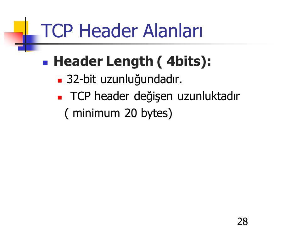 28 TCP Header Alanları Header Length ( 4bits): 32-bit uzunluğundadır. TCP header değişen uzunluktadır ( minimum 20 bytes)