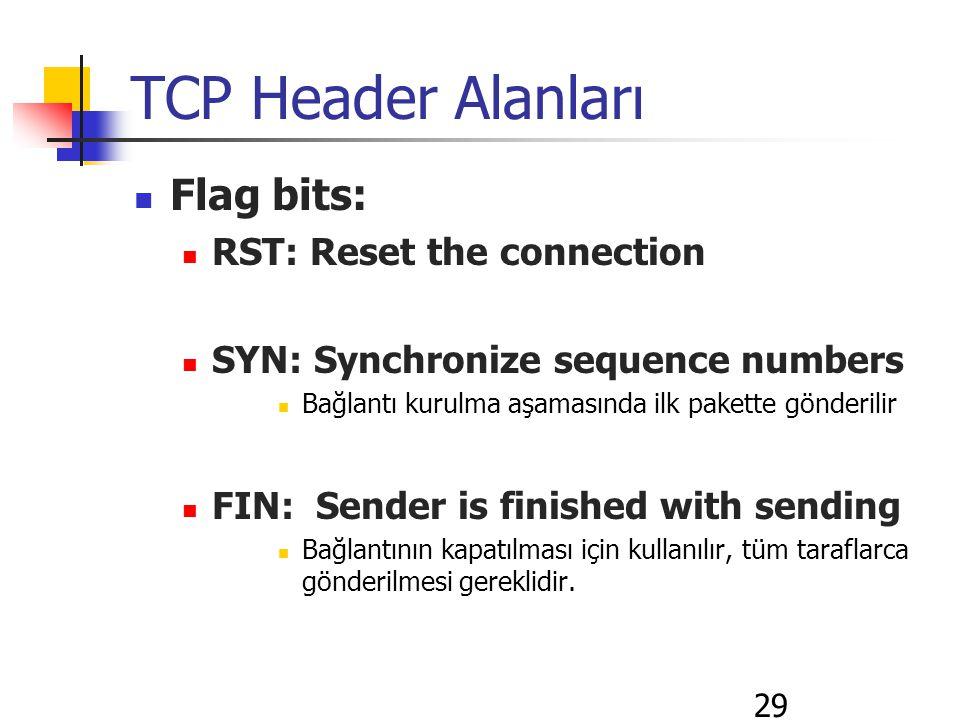 29 TCP Header Alanları Flag bits: RST: Reset the connection SYN: Synchronize sequence numbers Bağlantı kurulma aşamasında ilk pakette gönderilir FIN: