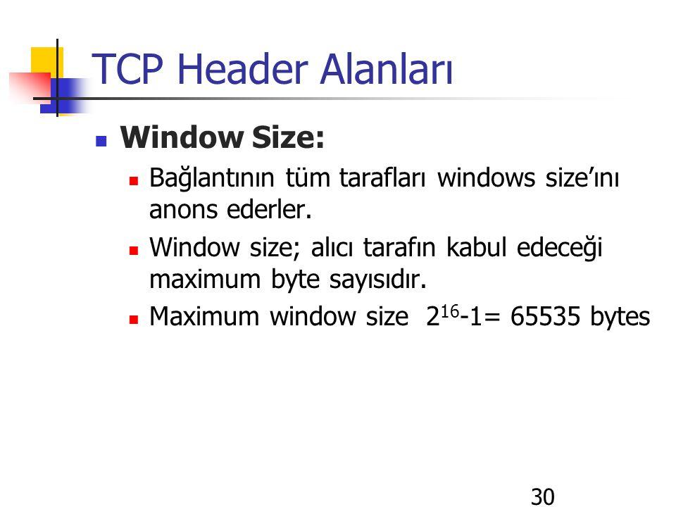 30 TCP Header Alanları Window Size: Bağlantının tüm tarafları windows size'ını anons ederler. Window size; alıcı tarafın kabul edeceği maximum byte sa