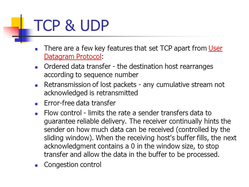 Evolution of TCP 19751980 1985 1990 1982 TCP & IP RFC 793 & 791 1974 TCP described by Vint Cerf and Bob Kahn In IEEE Trans Comm 1983 BSD Unix 4.2 supports TCP/IP 1984 Nagel's algorithm to reduce overhead of small packets; predicts congestion collapse 1987 Karn's algorithm to better estimate round-trip time 1986 Congestion collapse observed 1988 Van Jacobson's algorithms congestion avoidance and congestion control (most implemented in 4.3BSD Tahoe) 1990 4.3BSD Reno fast retransmit delayed ACK's 1975 Three-way handshake Raymond Tomlinson In SIGCOMM 75