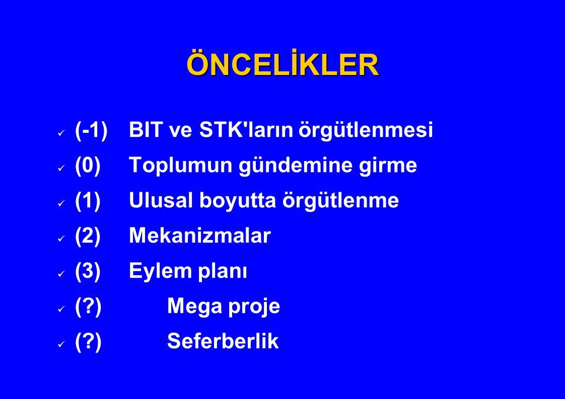 ÖNCELİKLER (-1)BIT ve STK'ların örgütlenmesi (0)Toplumun gündemine girme (1)Ulusal boyutta örgütlenme (2)Mekanizmalar (3)Eylem planı (?)Mega proje (?)