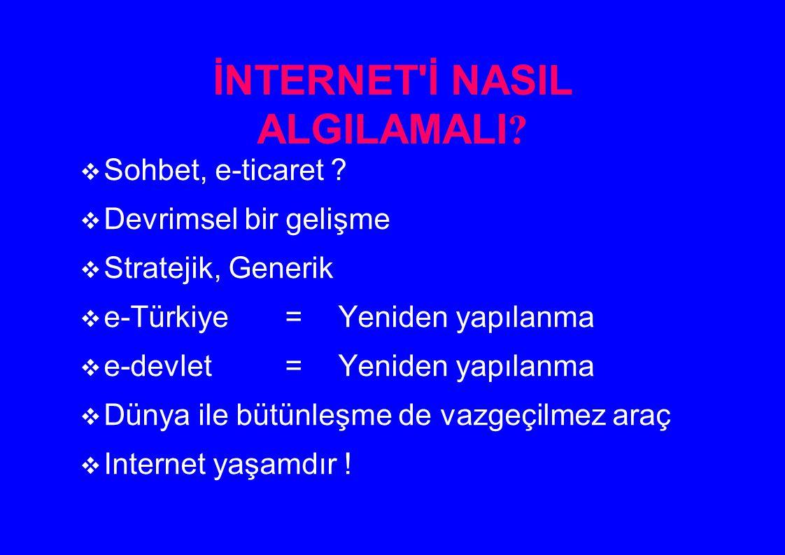 İNTERNET'İ NASIL ALGILAMALI ?  Sohbet, e-ticaret ?  Devrimsel bir gelişme  Stratejik, Generik  e-Türkiye =Yeniden yapılanma  e-devlet=Yeniden yap