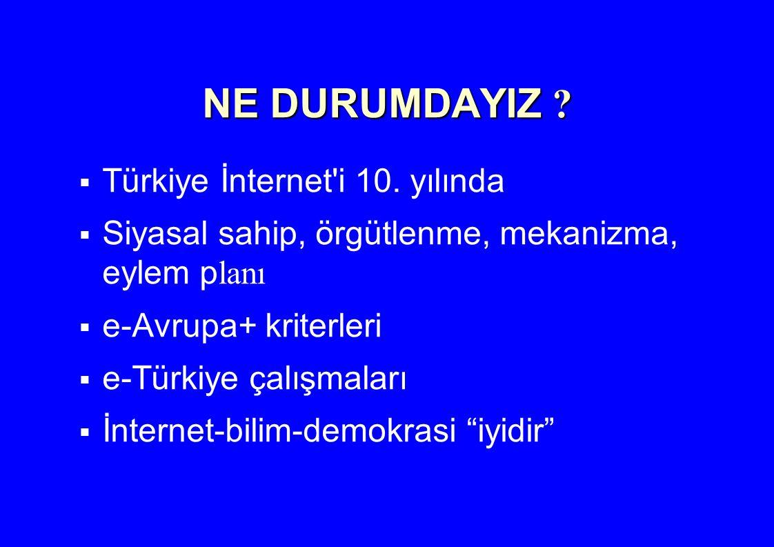 NE DURUMDAYIZ ?  Türkiye İnternet'i 10. yılında  Siyasal sahip, örgütlenme, mekanizma, eylem p lanı  e-Avrupa+ kriterleri  e-Türkiye çalışmaları 