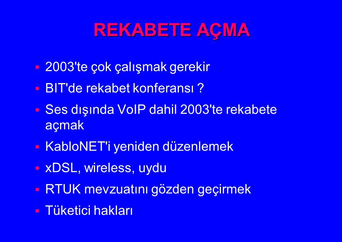 REKABETE AÇMA  2003'te çok çalışmak gerekir  BIT'de rekabet konferansı ?  Ses dışında VoIP dahil 2003'te rekabete açmak  KabloNET'i yeniden düzenl