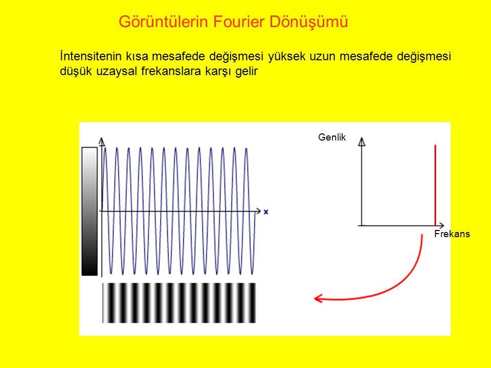 İntensitenin kısa mesafede değişmesi yüksek uzun mesafede değişmesi düşük uzaysal frekanslara karşı gelir Görüntülerin Fourier Dönüşümü Frekans Genlik