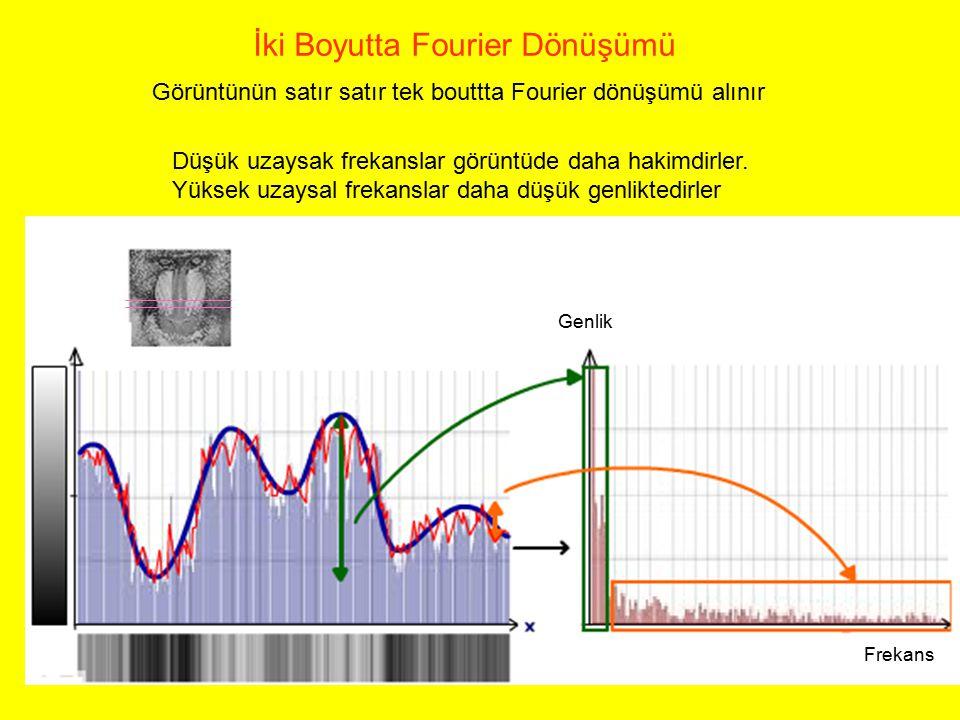 İki Boyutta Fourier Dönüşümü Görüntünün satır satır tek bouttta Fourier dönüşümü alınır Düşük uzaysak frekanslar görüntüde daha hakimdirler. Yüksek uz