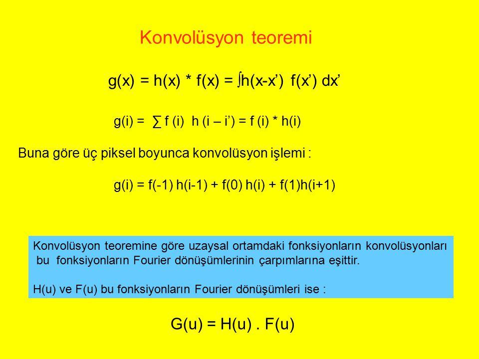 g(x) = h(x) * f(x) = ∫h(x-x') f(x') dx' g(i) = ∑ f (i) h (i – i') = f (i) * h(i) Buna göre üç piksel boyunca konvolüsyon işlemi : g(i) = f(-1) h(i-1)