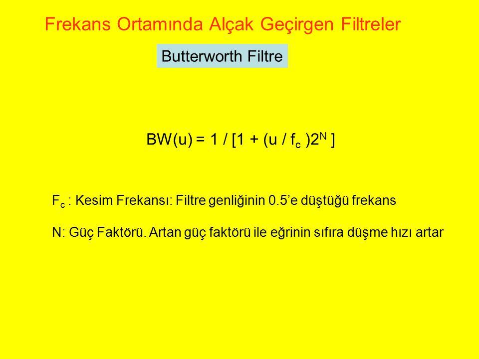 Butterworth Filtre Frekans Ortamında Alçak Geçirgen Filtreler BW(u) = 1 / [1 + (u / f c )2 N ] F c : Kesim Frekansı: Filtre genliğinin 0.5'e düştüğü f