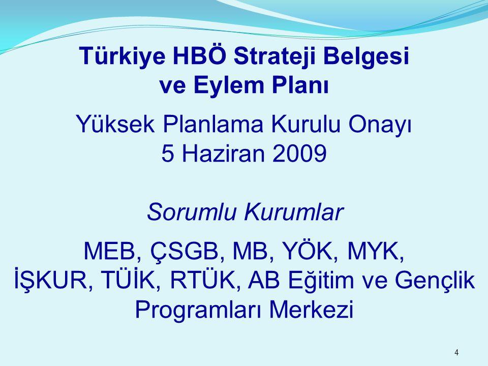 4 Türkiye HBÖ Strateji Belgesi ve Eylem Planı Yüksek Planlama Kurulu Onayı 5 Haziran 2009 Sorumlu Kurumlar MEB, ÇSGB, MB, YÖK, MYK, İŞKUR, TÜİK, RTÜK, AB Eğitim ve Gençlik Programları Merkezi