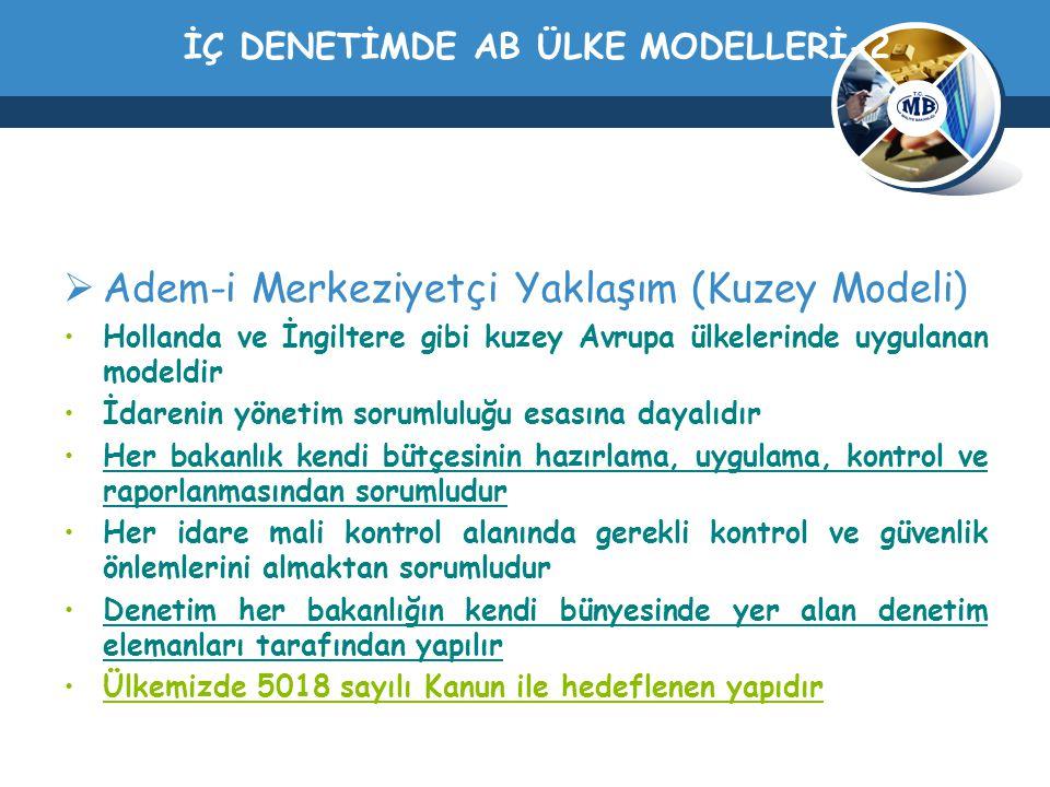 İÇ DENETİMDE AB ÜLKE MODELLERİ-2  Adem-i Merkeziyetçi Yaklaşım (Kuzey Modeli) Hollanda ve İngiltere gibi kuzey Avrupa ülkelerinde uygulanan modeldir